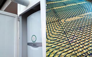 Imagen suelo radiante y caldera de condensación