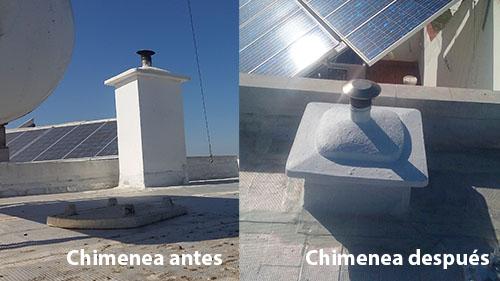 chimenea reducida para placa solar. Antes y después