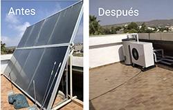Sustitución de sistema solar térmico por aerotermia con agua caliente sanitaria y suelo radiante en Alicante