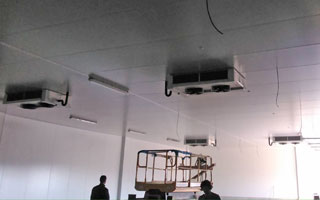 Profesionales instalando en techo un sistema de refrigeración para almacén de pescado
