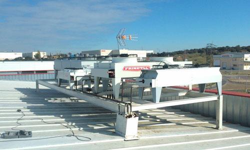 Unidades evaporadoras instaladas en azotea