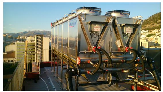 Refrigeración adiabática azotea instalación Vacca