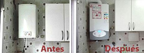Cambio de termo por una caldera de condensación mixta en una cocina. Antes y después