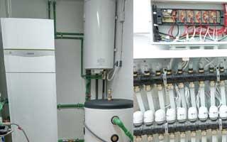 Instalación de bomba de calor geotérmica y suelo radiante