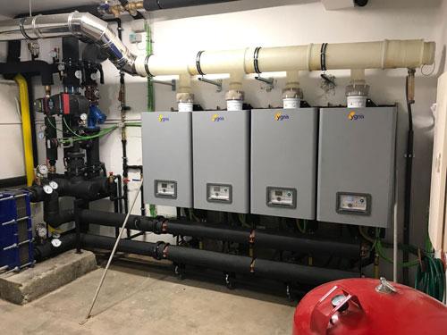 sala de calderas en instalación de calefacción central